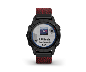 Garmin-Fenix-6-Sapphire-Black-DLC-with-Heathered-Red-Nylon-Band