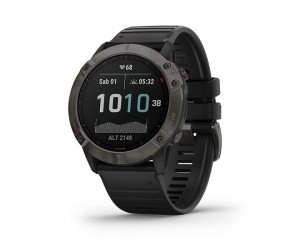 Garmin Fenix 6X - Sapphire Carbon Gray DLC with Black Band